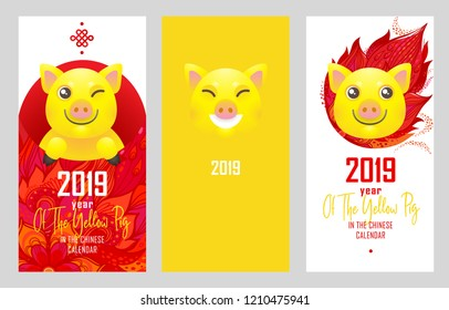 Vector set a greeting cards with illustration of kawaii pig, symbol of 2019 on the Chinese calendar. Porky, money packet with red pattern isolated. Element for New Year's design. Used for greetings.