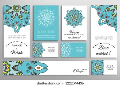Vector set of greeting Cards or wedding Invitations. Postcards template with inscription Make a Wish, Best Wishes, Happy Birthday. Banner and business cards with mandala ornament