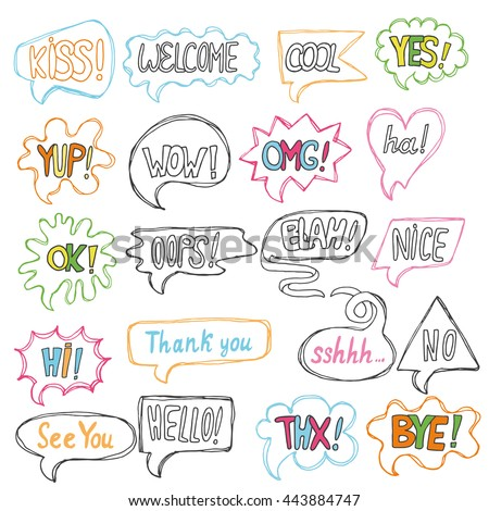 Vector set greeting comic speech quote stock vector royalty free vector set of greeting comic speech quote bubbles comment templates dialogue chat m4hsunfo