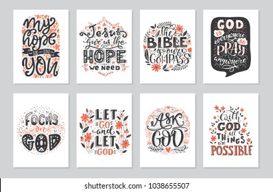 Vector set of  greetings card with religions lettering. Modern bible lettering illustration. T shirt hand lettered calligraphic design. Inspirational vector typography