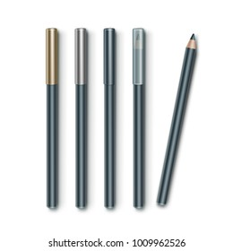 Vector set of Grey Blue Cosmetic Makeup Eyeliner Pencils with Golden Silver Transparent Caps Isolated on White Background