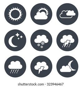 Vector set of grey circular buttons with weather symbols
