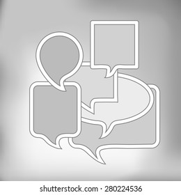 Vector Set of Grey Speech Bubbles on Grey Background
