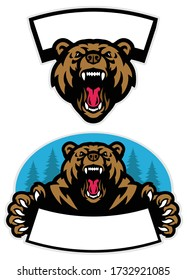 vector set of grizzly bear mascot design