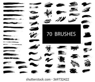 Vector set of grunge artistic brush strokes, brushes. Creative design elements.