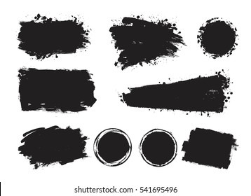 Vector set of grunge artistic brush strokes, design elements, circles and hand drawn boxes. Empty black backgrounds, frames for text or quote.