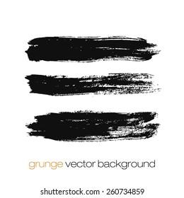Vector set of grunge brush strokes. Black vector brush strokes collection. Grunge marker stains