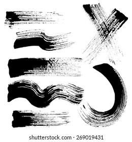 Vector set of grunge brush strokes. Black vector brush strokes collection. Black paint spots vector set