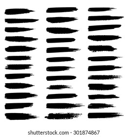 Vector set of grunge brush strokes, black isolated on white background.