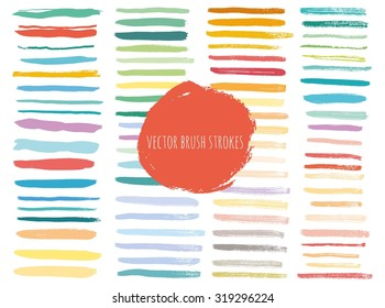 Vector set of grunge brush strokes. Colorful vector brush strokes collection. Grunge marker stains. Set of brushes and other design elements, hand drawn with ink.