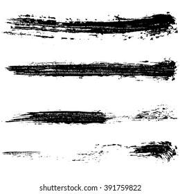 Vector set of grunge brush strokes. Black ink brush strokes. Black paint spots. Element for your design.