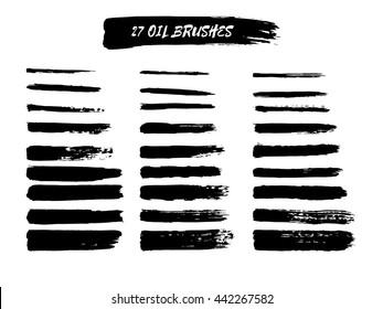 Vector set of grunge brush strokes. Oil brushes