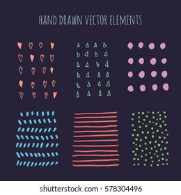 Vector set of grunge brush strokes. Marker stains. Set of design elements, hand drawn with ink.