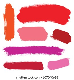 Vector set of grunge brush swatches. Red lipstick brush strokes set. Rose paint spots vector set isolated on white background.