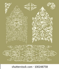Vector set of grunge Cambodian floral pattern