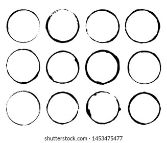 Vector set of grunge circle brush vector illustration