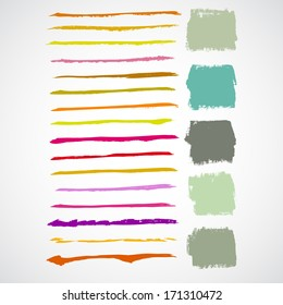 Vector set of grunge colorful brush strokes