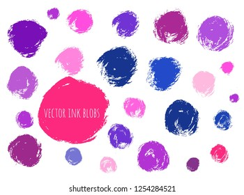 Vector set of grunge colorful circle brush strokes for design elements.