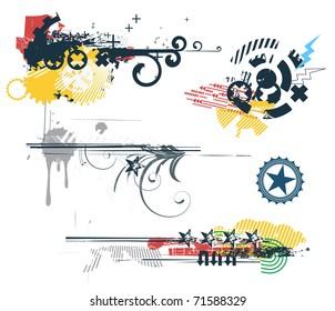 Vector set of Grunge Design Elements