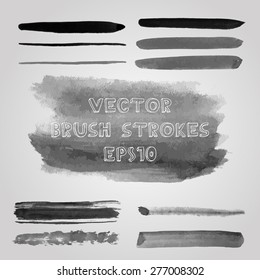 Vector set of grunge shades of grey watercolor brush strokes