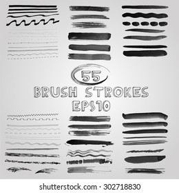 Vector set of grunge shades of grey watercolor brush strokes. Vector Illustration EPS10.