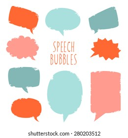 Vector set of grunge speech bubbles
