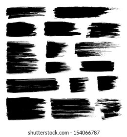 Vector set of grunge watercolor broad brush strokes.  Black collection of black vector oil paint brush strokes  isolated on white background. Paint brush strokes.