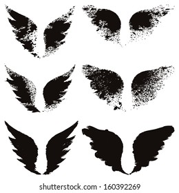 Vector set of grunge wings