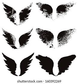 Vector set of grunge wings