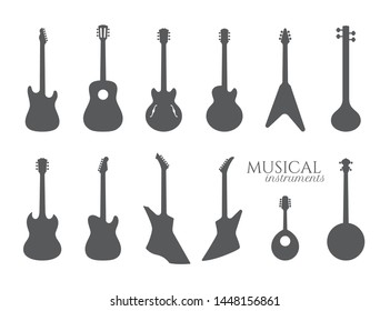Vector set of guitar black silhouettes. Musical Instrument. isolated on white background.