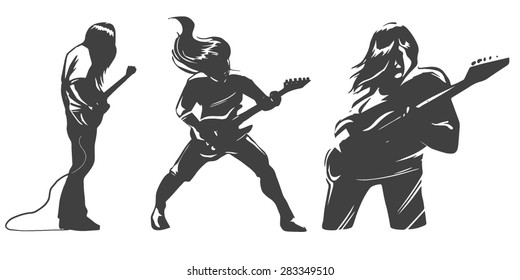 vector set of guitar players silhouettes