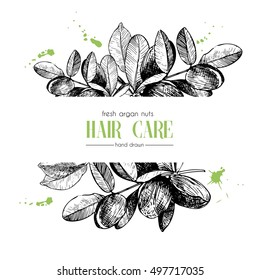 Vector set of hair care ingredients. Organic hand drawn elements. Template for Argan branch. Use for cosmetic package, shop, store, products, spa salon, wellness program, procedure, skin, hair care