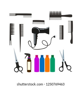 vector set for hair salon, hairdryer and combs on a white background