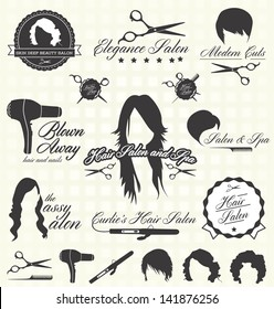 Vector Set: Hair Salon Labels and Icons