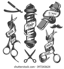 Vector set of hair salon vector labels in vintage style. Hair cut beauty and barber  shop, scissors, blade. Design elements, icons, badges isolated on white background.