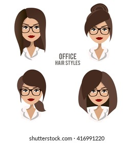Vector set of hair styles and hairdos for office female workers. Friendly, positive, pretty brunette office female character design. Business woman, boss, assistant, manager, staff wearing glasses