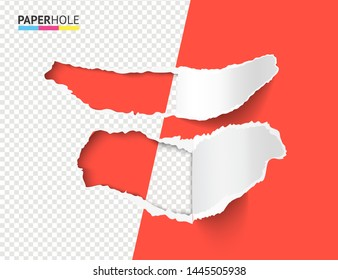 Vector set of half empty realistic torn paper pieces with rip edges of hole and shadows on a halfed transparent background for a sale advertisement bright banner revealing some message.