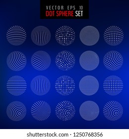 Vector set of half tone 3d spheres isolated on blue background. Dotted 3d circles. Vector illustration for your graphic design.
