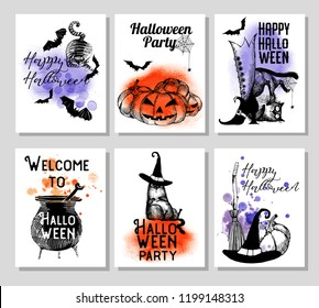 Vector set of halloween banner.