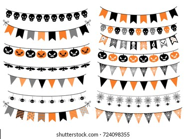 Vector set with Halloween buntings in orange, black and grey colors with pumpkins, spiders and skull for greeting cards, invitations and backgrounds