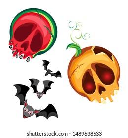Vector set of halloween characters bat, watermelon skull and Pumpkin Jacks skull . On a transparent background