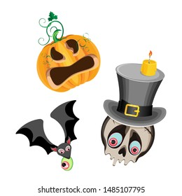 Vector set of halloween characters. On a transparent background