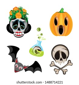 Vector set of halloween characters witch, bat, skull with crossbones and Pumpkin Jacks. On a transparent background