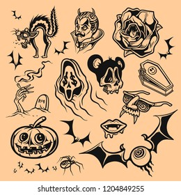 Vector set of halloween icon on brown background, Vintage style drawing, Tattoo flash.
