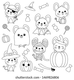 vector set halloween mouse rats 260nw
