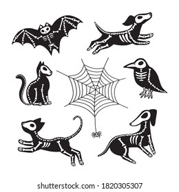 Vector set of Halloween stickers. Animals skeletons, isolated on white background. Dog, cat, raven, bat