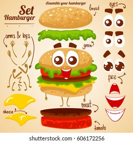 Vector set of hamburger. Assemble your burger. Make a character.
