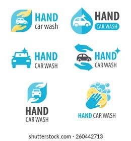 Vector set of hand car wash logotypes. Eps 10.