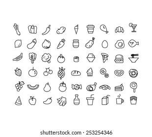 Vector set of hand draw 54 item of food icon