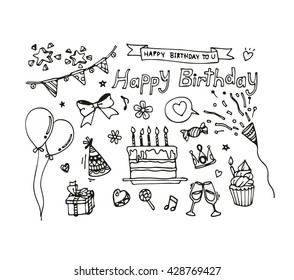 Vector set of hand draw birthday icon